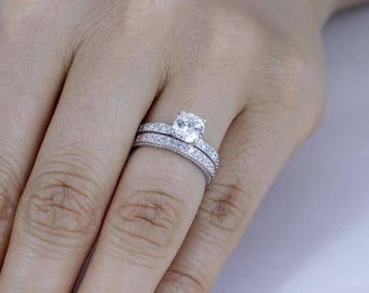 925 Sterling Silver CZ Wedding Band Engagement Solitaire Rings Set SZ 3-12 Ss61