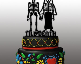 Day of the dead wedding cake toppers   Etsy