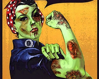 Zombie Rosie the Riveter Photographic print  Digital Painting 8x12
