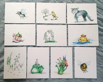 Illustrations (10 cartes postales également individuellement)