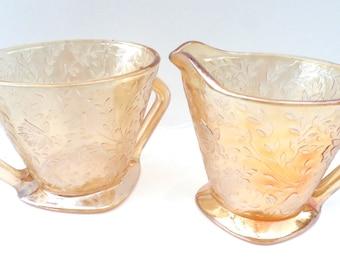 Gold Sugar and Creamer Set Vintage Gold Floral Cut Glass Sugar and Creamer Set