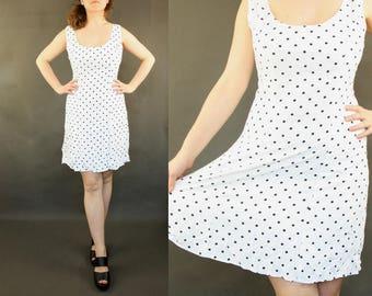 Polka dot dress Rockabilly -  Pin Up white navy blue M