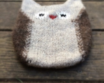Child's Owl Purse hand knitted wool photo pro