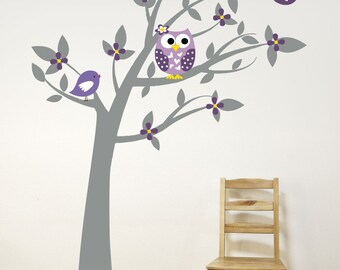Tree With Owl, Birds, and Leaves Wall Decal // Playroom Decor // Nursery Wall Decals // Owl Wall Art // Tree Wall Decal