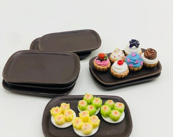2 pieces Miniature Tray, Miniature plate , Miniature Dollhouse