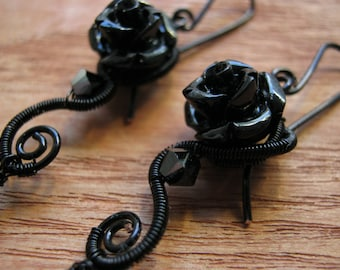 Gothic jewelry, gothic earring, mourning jewelry, vampire earring, gothic gift, black wire jewelry, black earring - BLACK ROSE