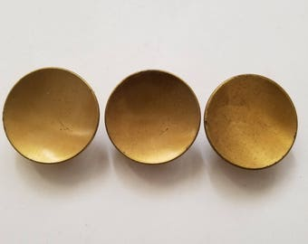 3 Vintage Metal Brass knobs pulls handles