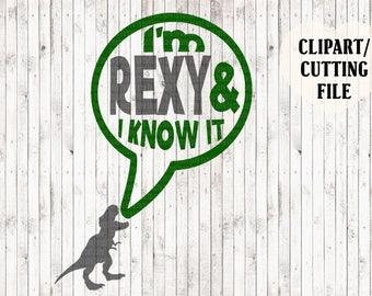 i'm rexy and i know it svg, dinosaur svg, t rex svg, boys shirt svg, kids funny svg, cut files, vinyl designs, valentines svg, svg sayings