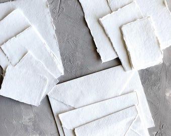 Sample Pack Handmade Cotton Paper Deckle Edge Rag Paper, Letterpress Invitation Wedding Paper 250gsm | 150gsm | 150gsm Envelopes