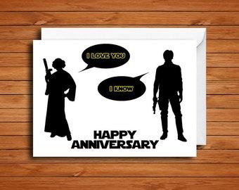 Star Wars Anniversary Card, Star Wars Valentine's Day Card, Star Wars Love Card, I Love You I Know
