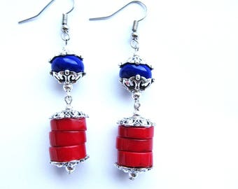 Red Bamboo Coral Earrings-red earrings-coral jewelry-coral gemstone-lampwork-glass beads-blue beads-for her-gift for her