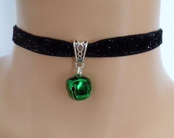 cat bell choker, black velvet choker, glitter necklace, elasticated ribbon, green jingle bell