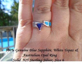 Genuine Trillion Cut Blue Sapphire, White Topaz & Australian Opal Ring