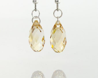 Champagne Gold Crystal earrings, Swarovski Crystal Multifaceted sparkly Briolettes earrings on Sterling Silver 925 with surgical steel hooks