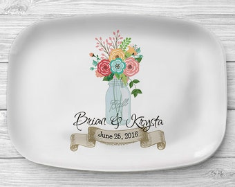 Country Floral Platter, Personalized Melamine Platter, Personalized Mason Jar Serving Platter, Wedding Platter, Personalized Serving Tray