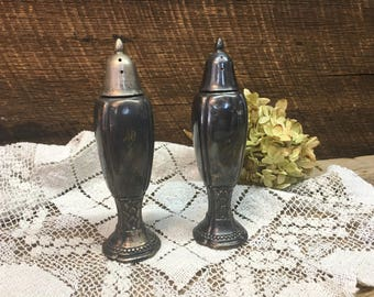 Rogers 1881 Silver Salt & Pepper Shakers/Set/Rustic/Silver Plate/Farmhouse Decor