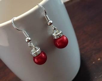 Ornament Earrings, Christmas Ornament Earrings, Christmas Rondelles Earrings, Christmas Earrings, Xmas