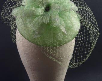 Green fascinator flower headpiece, hat with veil headpiece mother of the bride wedding hat, occasion hat, vegan fashion, UK fascinator