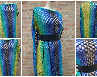 MultiColored Crochet Poncho with Fringe -Blue / Yellow and Black blend - with Buttons- Belt included - Custom Colors - Custom Sizes