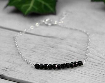 Sterling silver bracelet , black spinel gemstones