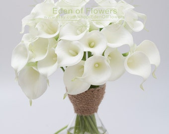 Real Touch White Calla Lilies for Bridal Bouquets, Wedding Centerpieces, Home Decorations, Boutonnieres, Corsage