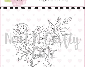 Peony Digital Stamp For scrapbooking and paper crafting