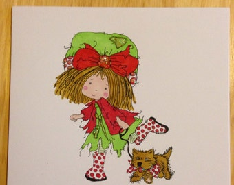 Birthday card - girl walking the dog - for different occasions - handcoloured - to personalise and glitter