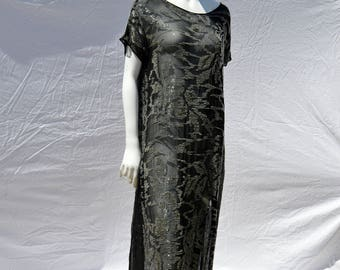 Vintage antique ART DECO hand beaded flapper dress silk all hand embroidered jazz age large by thekaliman
