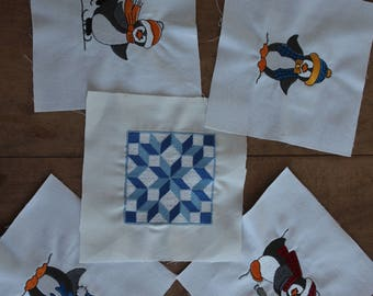 Embroidered Quilt Squares - Penguin