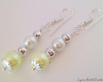 Lemon & White Pearl Earrings Bridesmaid Earrings Jewelry Set Bridal Jewelry Canary Yellow Bridesmaid Gift Droplet Earrings Beaded Jewelry