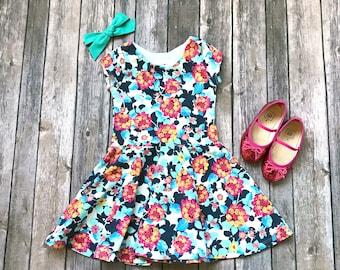 Bright Floral Dress - Floral Dress - Summer Floral Dress - Baby Dress - Comfy Dress - Toddler Dress - Twirl Dress - Twirly Dress