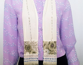 Vintage 20's JAPANESE ART DECO Hand Printed Long Cream and Floral Design Fringed Scarf