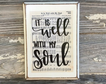 It is Well with my Soul Hymn Board - hand lettered wood sign