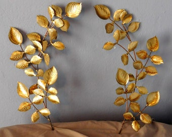 Pair of Vintage Faux Brass Rose Branch Wall Hangings - Two Leafy Mid-Century Style Wall-Mounted Branches - Great Patina Slightly Distressed