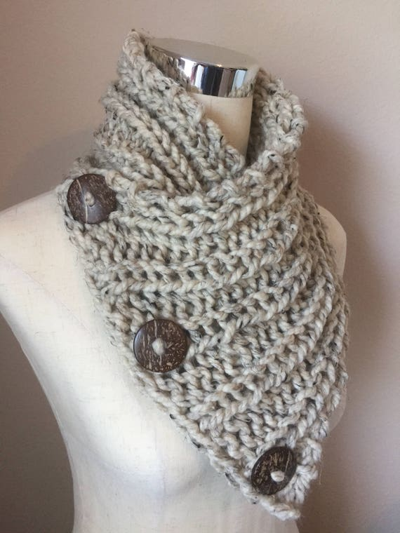 Pattern for Old York Scarf chunky knit button cowl Knitting