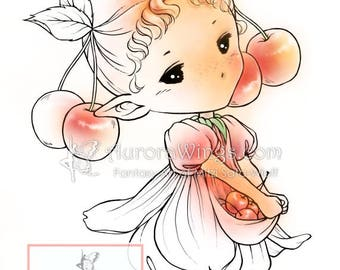 Digital Stamp - Cherry Sprite - Whimsical Fruit Fairy Image - Fantasy Line Art for Cards & Crafts by Mitzi Sato-Wiuff at Aurora Wings