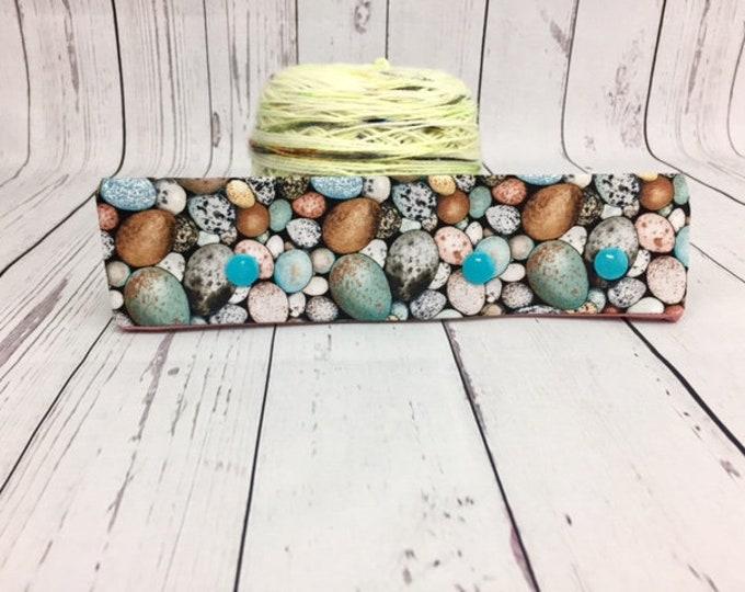 "Bird Eggs, Circular Needle Progress Holder,  6-8"" DPN Progress Holder for Knitting"
