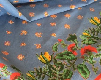 Elegant Large Vintage Printed Cotton Tablecloth, Blue With Red And Yellow, French  Or Tuscan Look