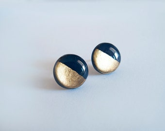 Navy Blue Gold Round Stud Earrings - Hipoallergenic Surgical Steel Post