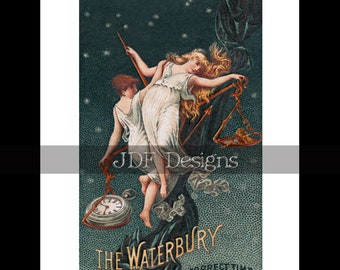 Instant Digital Download, Antique Victorian Graphic, Nymph Trade Card Watch Ad, Advertisement, Vintage Fantasy Print, Printable Image, Fairy