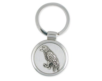 Solid African Grey Parrot Key Ring Jewelry Sterling Silver AF1-KR