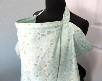 Nursing Cover - Floral Gold on mint