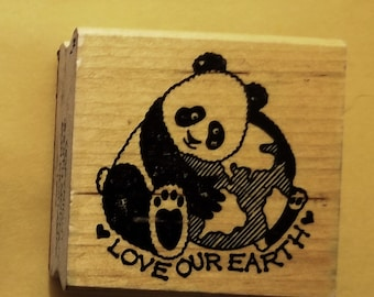 "Panda Rubber Stamp called ""Love Our Earth"""