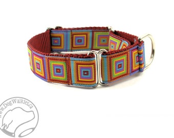 "Vibrant Retro Colorful Squares Dog Collar - 1"" Wide (25mm) - Martingale or Quick Release - Choice of collar style and size"