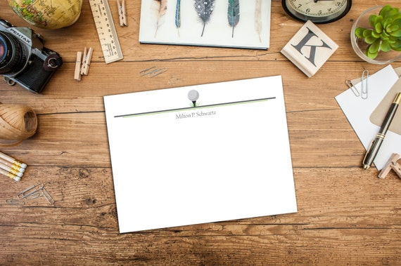 Tee Off Golf Flat Note card, Golf Personalized Note Card, Golf Tee Personal Note Card, Custom Golf Note Cards, Set of Ten Note Cards