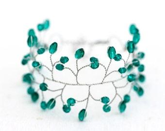 61 Emerald bracelet, Green bracelet, Crystal bracelet, Silver bracelet, Wedding bracelet, Wedding jewelry, Delicate bracelet, For bride