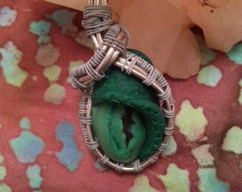 wire wrap pendant clay monster/dragon eye