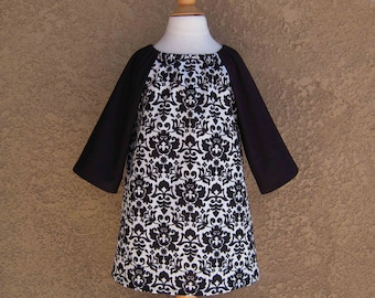 LAST ONE 2T Black and Ivory Damask Peasant Dress, Long Sleeve, In Stock and Ready to Ship Fall Halloween
