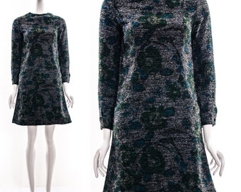 Vintage MOD Charcoal Grey Floral Fuzzy Knit Dress Retro Twiggy Dress Dolly Dress Baby Doll Dress Pockets Long Sleeves Small Extra Small