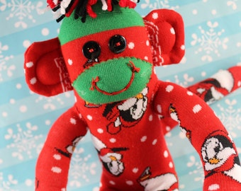Sock Monkey / Chilly Willy Penguin / Red and Green / Polka Dot / Christmas / Christmas Decoration / Holiday Decoration / Holiday Gift